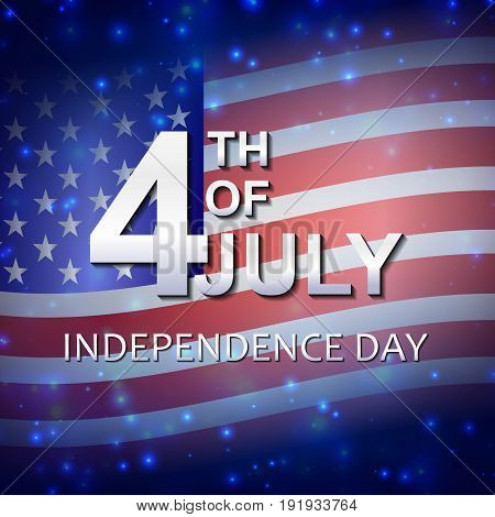 4Th Of July. American Independence Day. Celebration. Firework. Template For Postcards, Leaflets. Fla