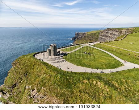 World Famous Birds Eye Aerial Drone View Of The Cliffs Of Moher In County Clare, Ireland. Beautiful