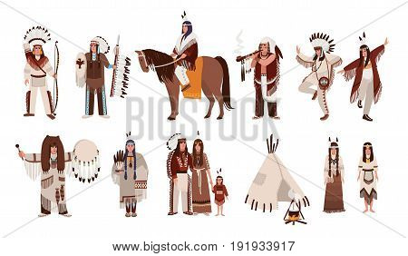 Set of Indians in traditional costumes. Native american family, girl, shaman, people with a bow and arrows, peace-pipe, a spear, on a horse. Colorful vector illustration in cartoon style