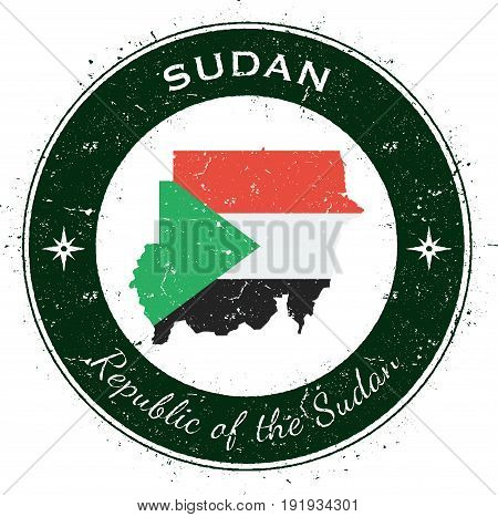 Sudan Circular Patriotic Badge. Grunge Rubber Stamp With National Flag, Map And The Sudan Written Al
