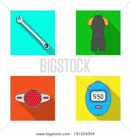 A wrench, a bicyclist's bone, a reflector, a timer.Cyclist outfit set collection icons in flat style vector symbol stock illustration .