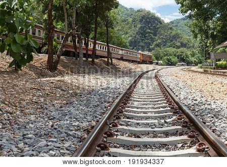 Railroad tracks with train and trees on both sides