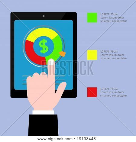 Credit score vector in a flat design. A hand pointing to the data on loans in the tablet.