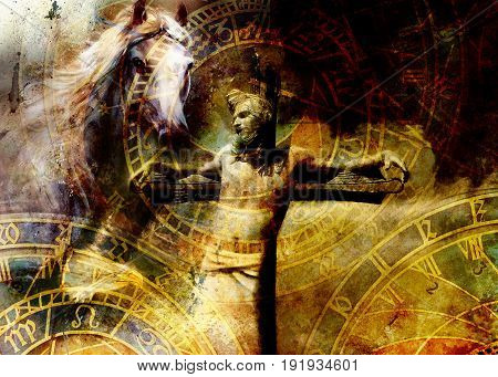 interpretation of Jesus on the cross and animals and zodiac, graphic painting version. Sepia effect
