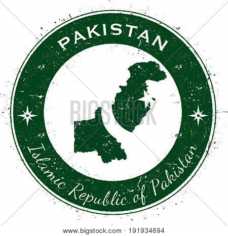 Pakistan Circular Patriotic Badge. Grunge Rubber Stamp With National Flag, Map And The Pakistan Writ