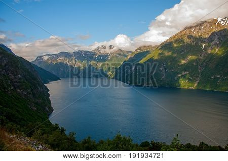Geiranger fjord, view from mountain peaks. Norway
