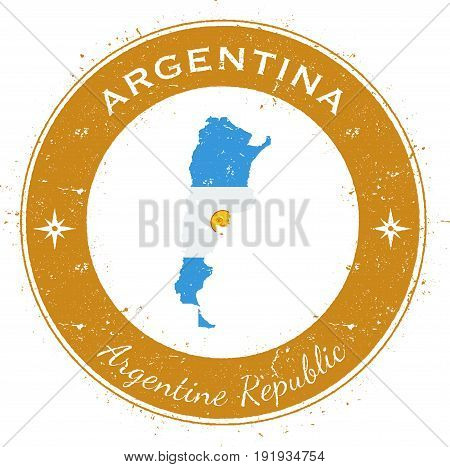 Argentina Circular Patriotic Badge. Grunge Rubber Stamp With National Flag, Map And The Argentina Wr