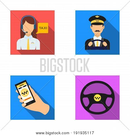 A taxi driver with a microphone, a taxi driver at the wheel, a cell phone with a number, a car steering wheel. Taxi set collection icons in flat style vector symbol stock illustration .