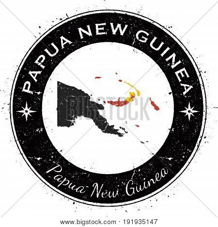 Papua New Guinea Circular Patriotic Badge. Grunge Rubber Stamp With National Flag, Map And The Papua