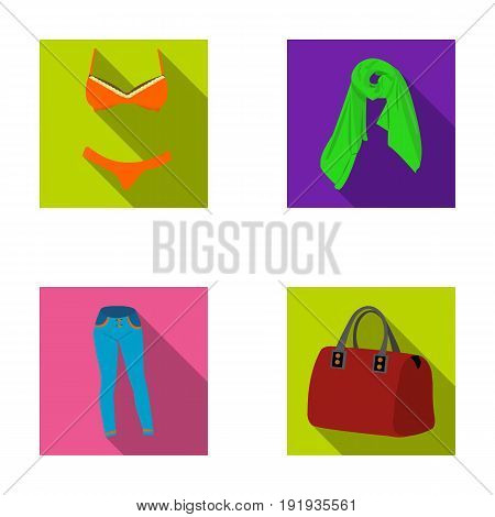 Bra with shorts, a women s scarf, leggings, a bag with handles. Women s clothing set collection icons in flat style vector symbol stock illustration .