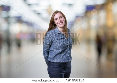 Pretty Young Businesswoman Is Happy Over Blur Background