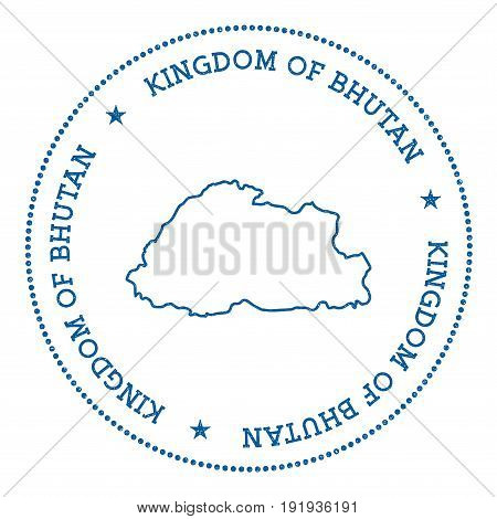 Bhutan Vector Map Sticker. Hipster And Retro Style Badge With Bhutan Map. Minimalistic Insignia With