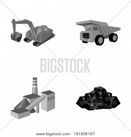 Excavator, dumper, processing plant, minerals and ore.Mining industry set collection icons in monochrome style vector symbol stock illustration .