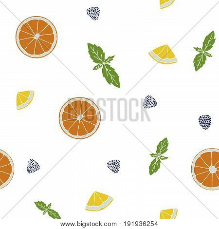 Seamless Pattern With Orange, Lemon Slices, Mint, Berries. Hand Drawn Fruits Print On A White Backgr