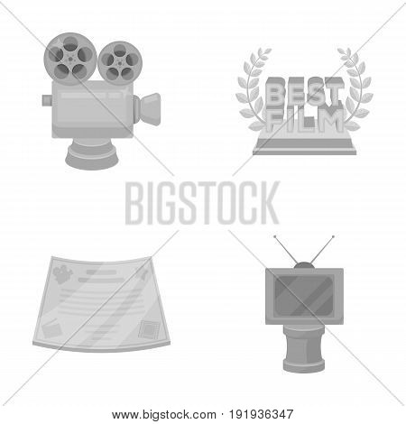 Silver camera. A bronze prize in the form of a TV and other types of prizes.Movie awards set collection icons in monochrome style vector symbol stock illustration .