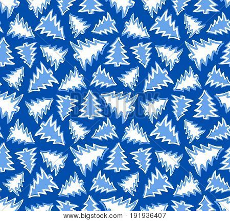 The Seamless background with blue pine trees.