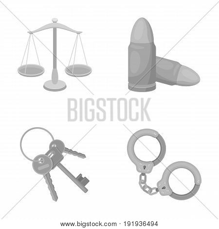 Scales of justice, cartridges, a bunch of keys, handcuffs.Prison set collection icons in monochrome style vector symbol stock illustration.