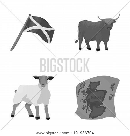 The state flag of Andreev, Scotland, the bull, the sheep, the map of Scotland. Scotland set collection icons in monochrome style vector symbol stock illustration .