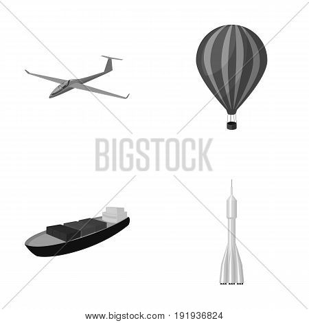 A drone, a glider, a balloon, a transportation barge, a space rocket transport modes. Transport set collection icons in monochrome style vector symbol stock illustration .