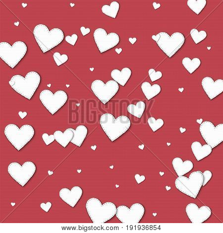 Cutout White Paper Hearts. Chaotic Scatter Lines With Cutout White Paper Hearts On Crimson Backgroun