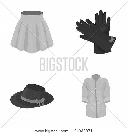 Skirt with folds, leather gloves, women's hat with a bow, shirt on the fastener. Women's clothing set collection icons in monochrome style vector symbol stock illustration .