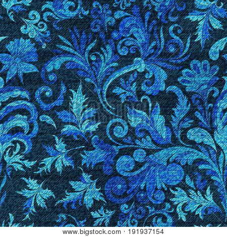 Vector denim ornamental doodle floral seamless pattern. Faded jeans background with fantasy flowers. Blue jeans cloth background