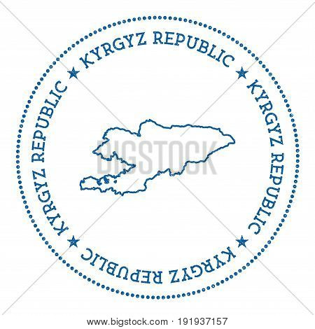 Kyrgyzstan Vector Map Sticker. Hipster And Retro Style Badge With Kyrgyzstan Map. Minimalistic Insig
