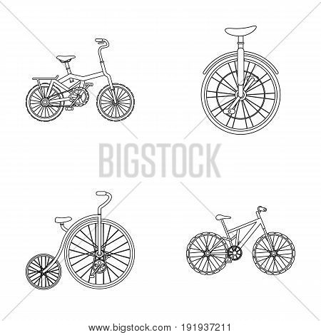 Retro, unicycle and other kinds.Different bicycles set collection icons in outline style vector symbol stock illustration .