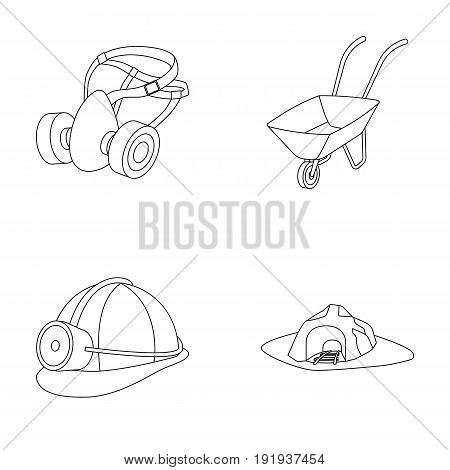 Headphones and raspirator, wheelbarrow, helmet with a lantern, the entrance to the mine.Mining industry set collection icons in outline style vector symbol stock illustration .