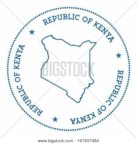Kenya Vector Map Sticker. Hipster And Retro Style Badge With Kenya Map. Minimalistic Insignia With R