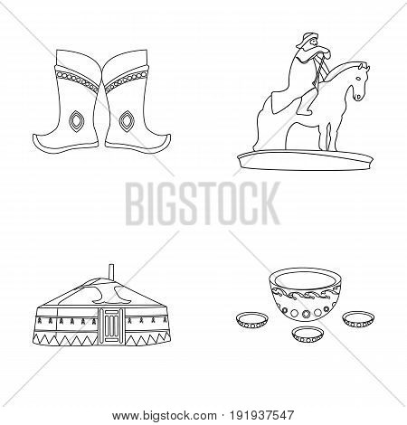 Military boots, a monument to the rider, a national tent, a milk drink. Mongolia set collection icons in outline style vector symbol stock illustration .