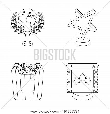 A gold prize in the form of a star, a gold globe and other prizes.Movie awards set collection icons in outline style vector symbol stock illustration .