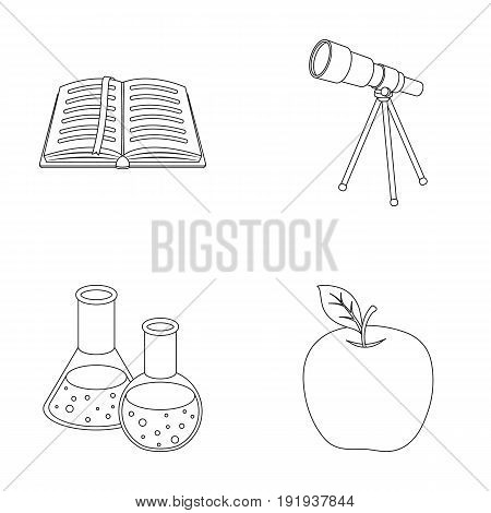 An open book with a bookmark, a telescope, flasks with reagents, a red apple. Schools and education set collection icons in outline style vector symbol stock illustration .