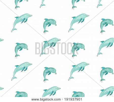 Hand drawn vector cartoon summer time seamless pattern with jumping dolphins in blue colors isolated on white background.