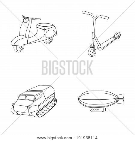 Motorcycle, scooter, armored personnel carrier, aerostat types of transport. Transport set collection icons in outline style vector symbol stock illustration .
