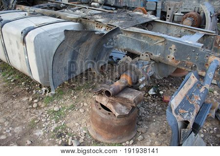 Abandon for years and old trucks rusts. The old truck graveyard. Interior of abandoned old car