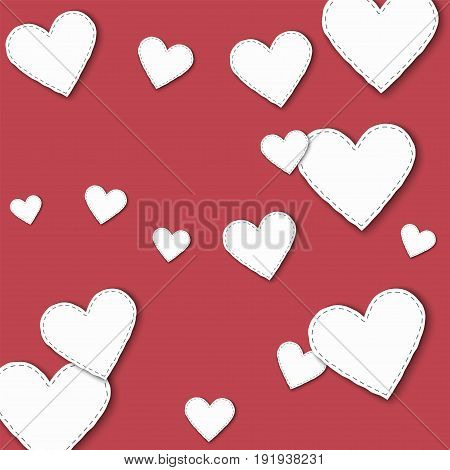 Big White Paper Hearts. Scattered Pattern With Big White Paper Hearts On Crimson Background. Vector