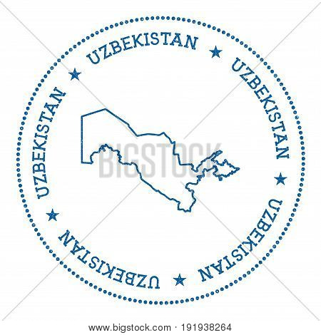 Uzbekistan Vector Map Sticker. Hipster And Retro Style Badge With Uzbekistan Map. Minimalistic Insig