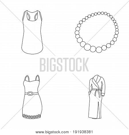 T-shirt, beads, summer women's sarafan on straps with a belt, a home gown. Women's clothing set collection icons in outline style vector symbol stock illustration .