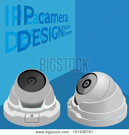 Security camera. Web / surveillance camera. Isometric vector illutration. Visual aid.