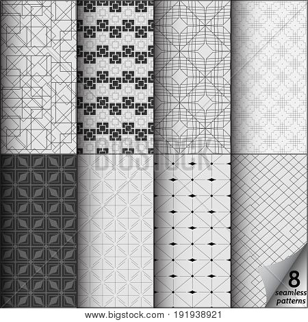 Vector set of eight monochrome seamless patterns. Modern stylish texture. Repeating geometric tiles with thin line rhombuses. Simple lines patterns. Seamless vector collection. Black and white texture.