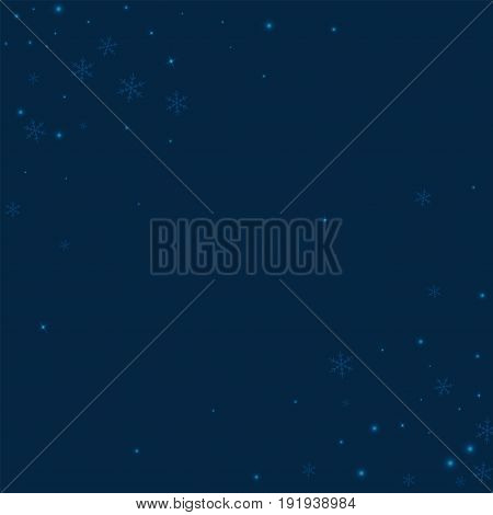 Sparse Glowing Snow. Abstract Chaotic Scatter With Sparse Glowing Snow On Deep Blue Background. Vect