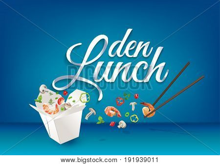 Lunch time - in german language paper hand lettering calligraphy. Vector illustration with food objects and text.