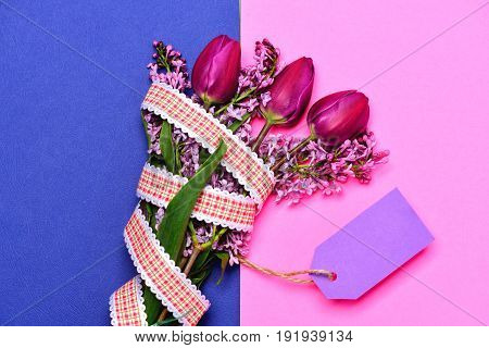 Flowers In Bunch With Rustic Red Ribbon And Note Label