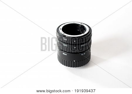 Macro Extension Tubes, Macrorings For Slr Camera Isolated On White Background