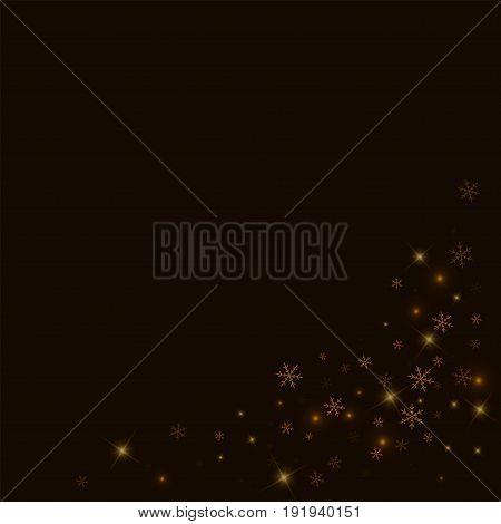 Sparse Starry Snow. Bottom Right Corner On Black Background. Vector Illustration.