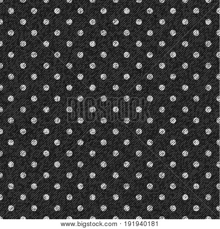 Tile pattern with white polka dots on gray denim background. Vector