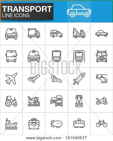 Transport line icons set outline vector symbol collection linear style pictogram pack. Signs logo illustration. Set includes icons as car truck plane helicopter bus tram bike train ship
