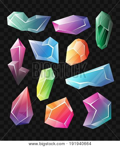 Crystals - realistic modern vector set of different shape minerals. Black background. Use this high quality clip art for presentations, banners and flyers. Blue, green and purple prizes, tokens, chips