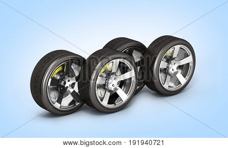 Car Wheels With Brake Isolated On Blue Gradient Background 3D